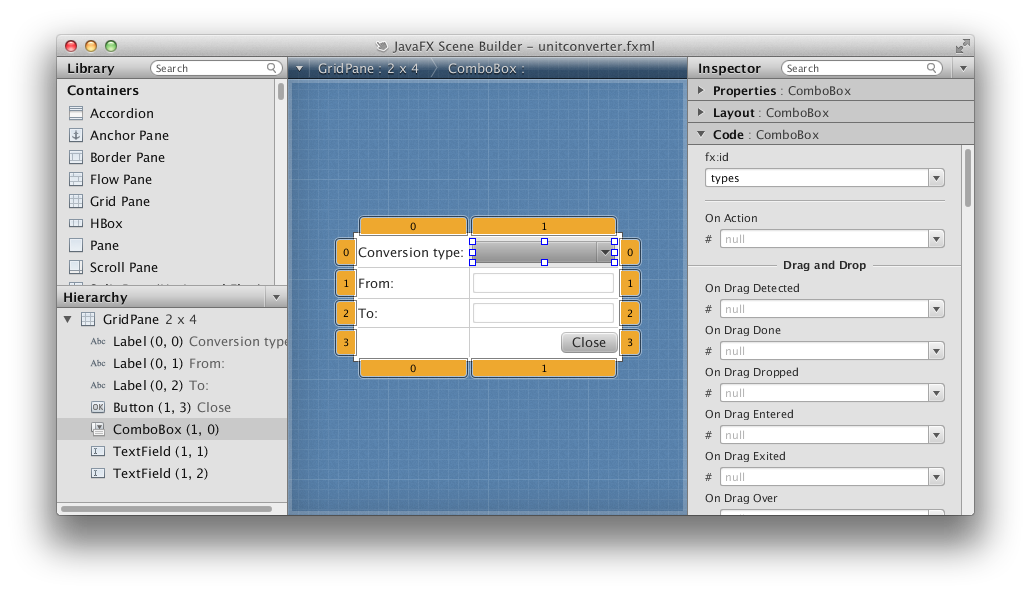 We will use FXML to create a form. Also, JavaFX applications define the  user interface container by means of a stage ...